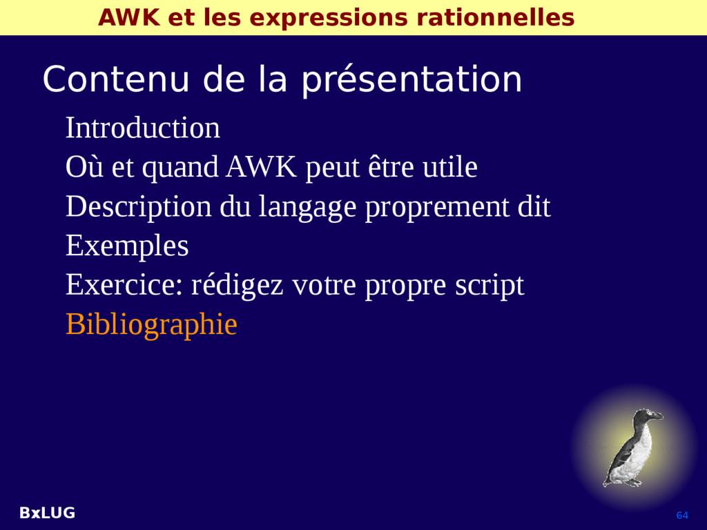 BxLUG 64 AWK et les expressions rationnelles Co...