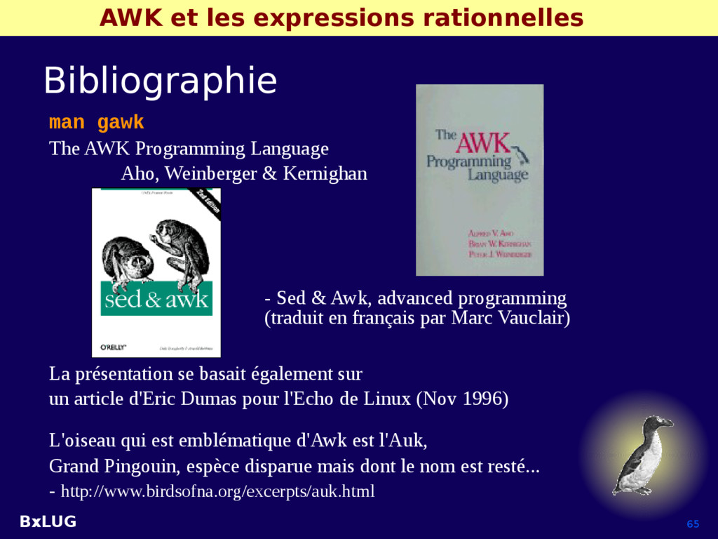 BxLUG 65 AWK et les expressions rationnelles Bi...