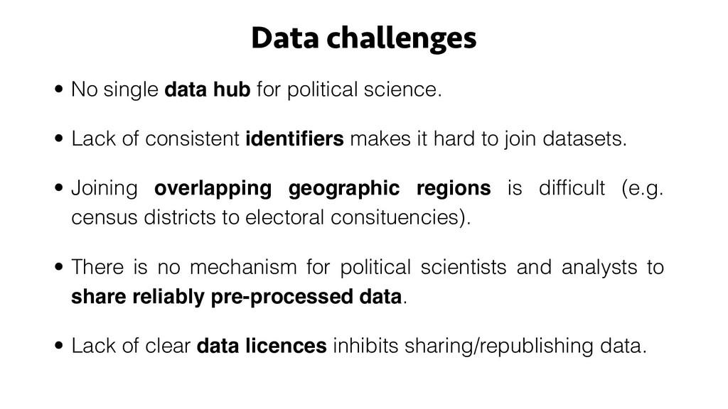 Data challenges • No single data hub for politi...