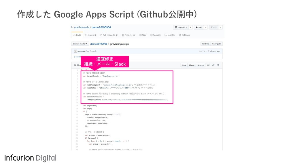 作成した Google Apps Script (Github公開中) 適宜修正 組織・メール...
