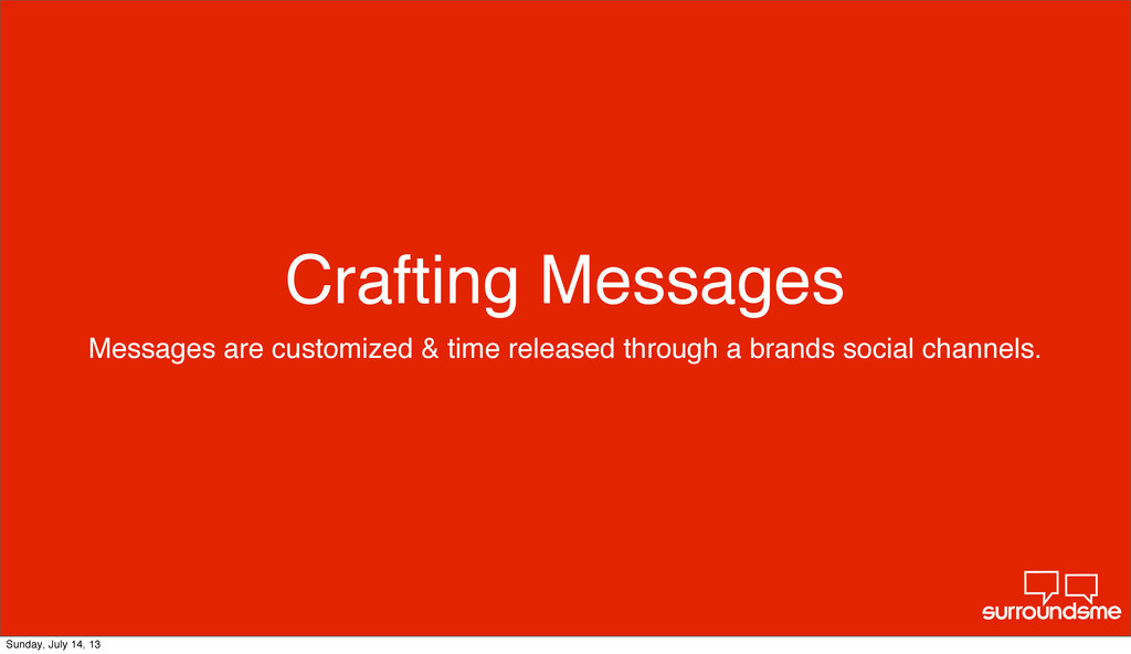 Crafting Messages Messages are customized & tim...