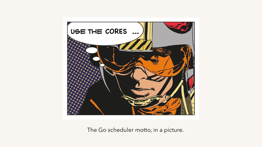 CORES The Go scheduler motto, in a picture.