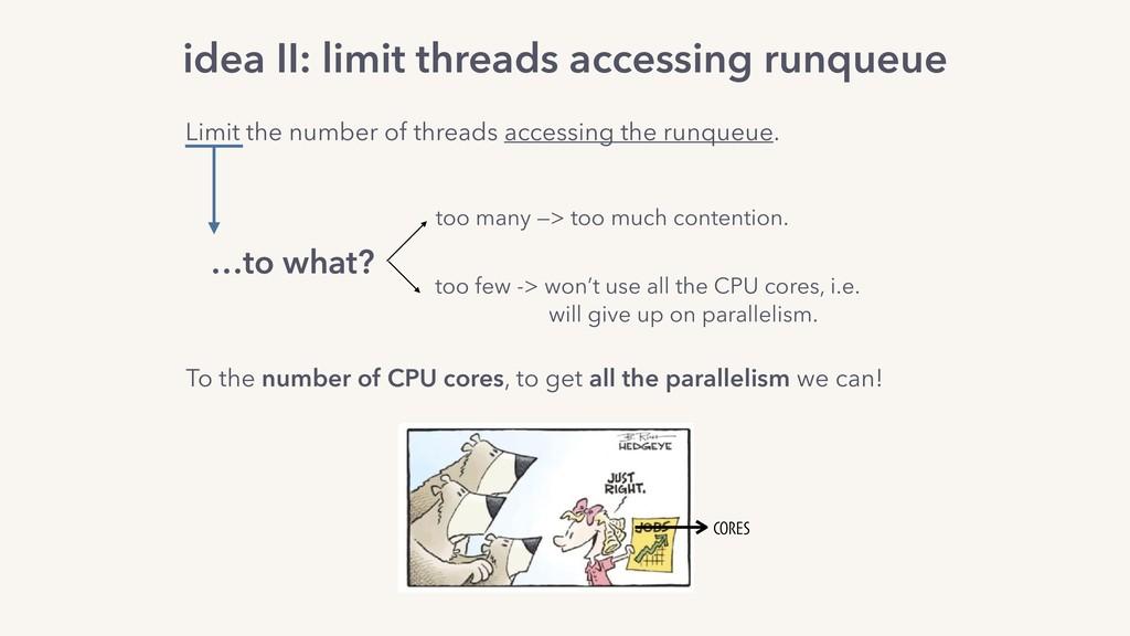 idea II: limit threads accessing runqueue Limit...
