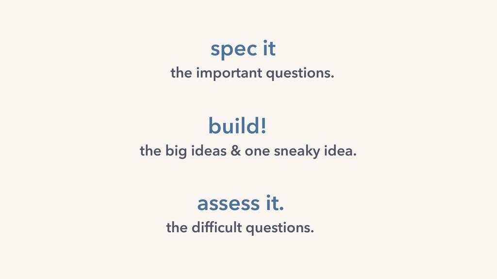 spec it build! the big ideas & one sneaky idea....