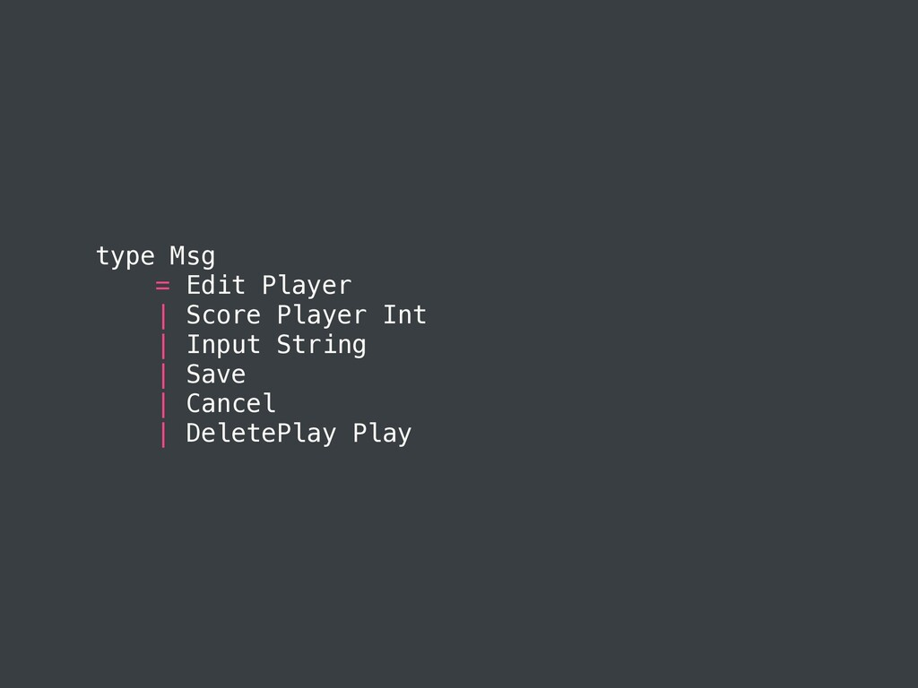 type Msg = Edit Player | Score Player Int | Inp...