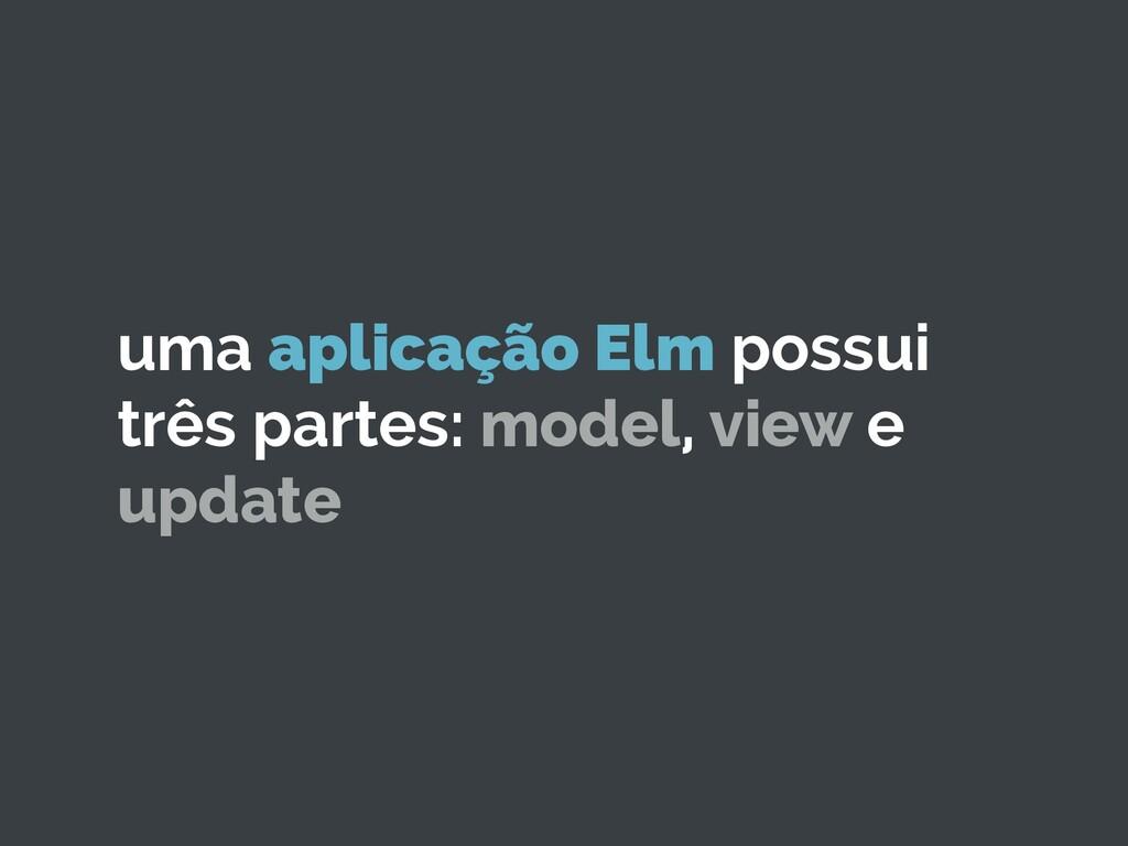 uma aplicação Elm possui três partes: model, vi...