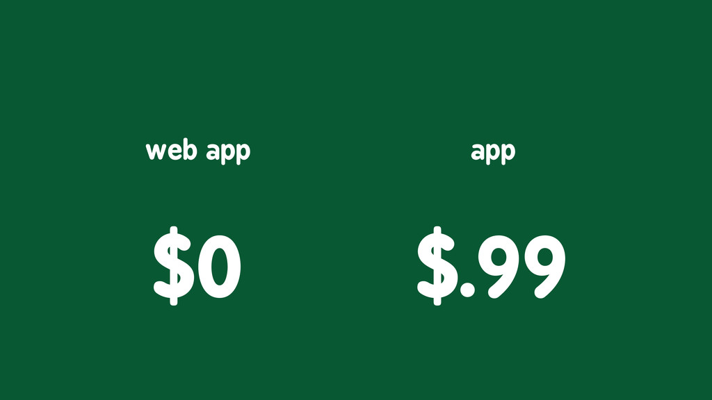 $0 web app $.99 app