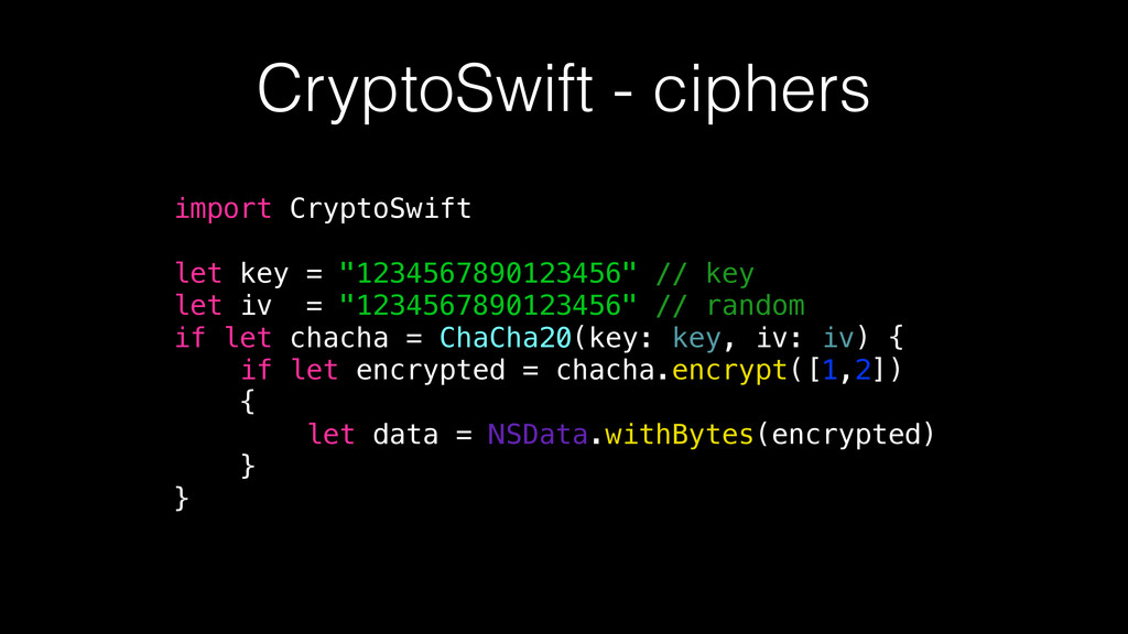 """import CryptoSwift let key = """"1234567890123456""""..."""