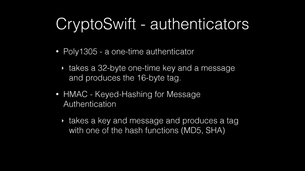 CryptoSwift - authenticators • Poly1305 - a one...