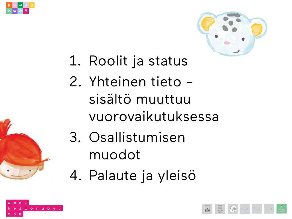 1. Roolit ja status 2. Yhteinen tieto - sisältö...