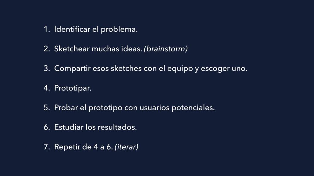 1. Identificar el problema. 2. Sketchear muchas ...