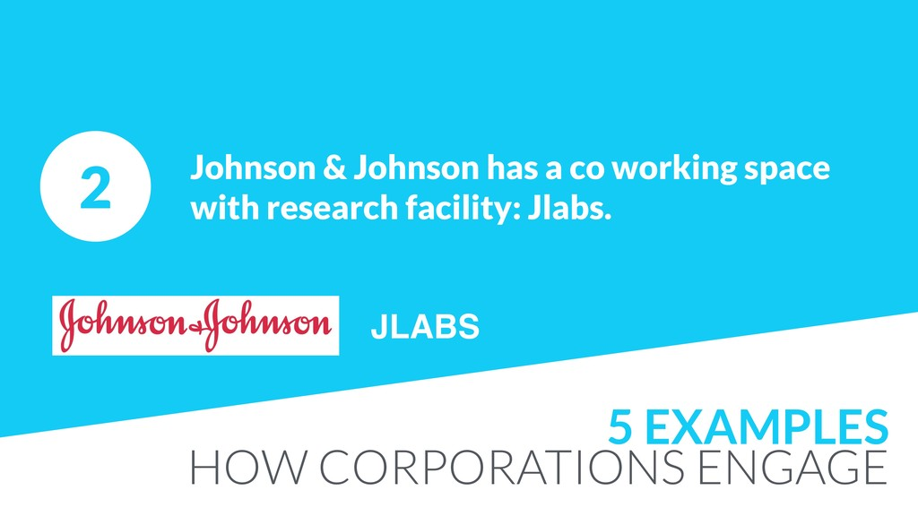 2 Johnson & Johnson has a co working space with...