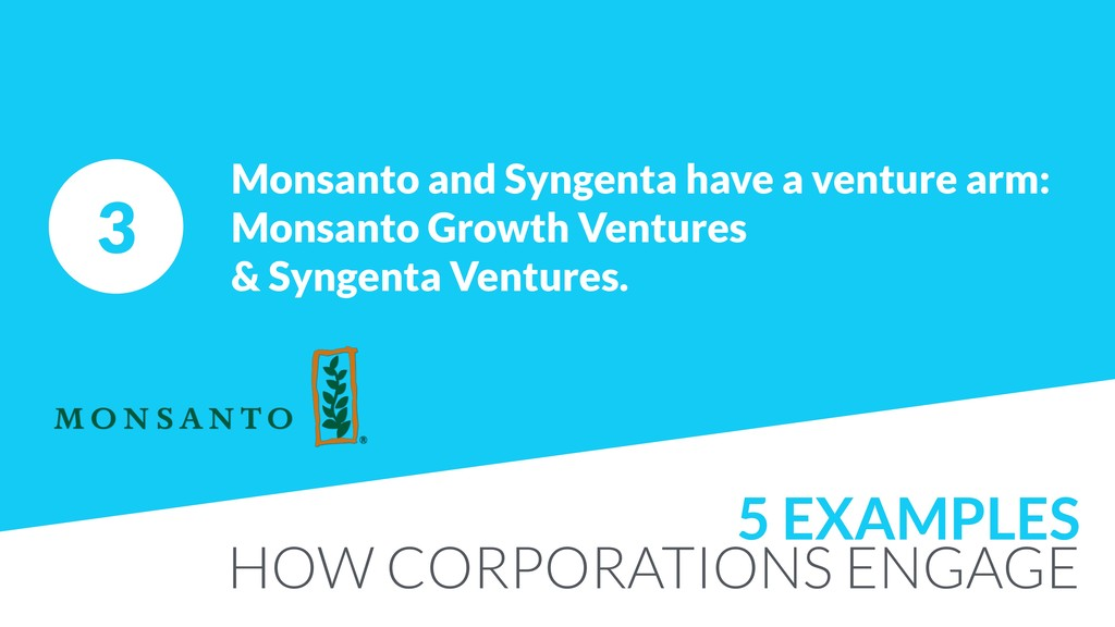 3 Monsanto and Syngenta have a venture arm: Mon...