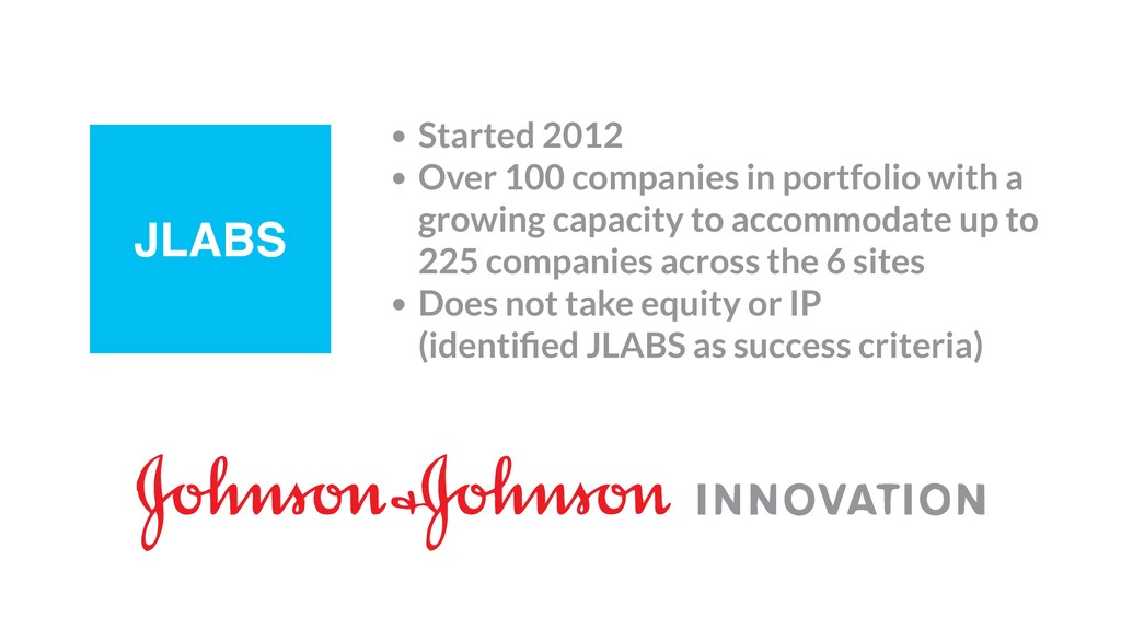 JLABS • Started 2012 • Over 100 companies in po...