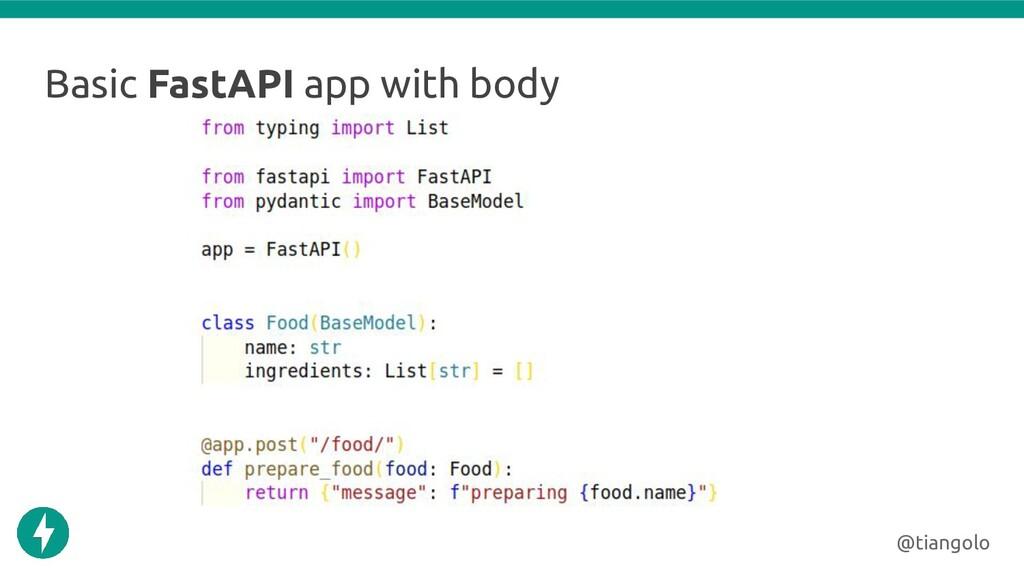 Basic FastAPI app with body @tiangolo