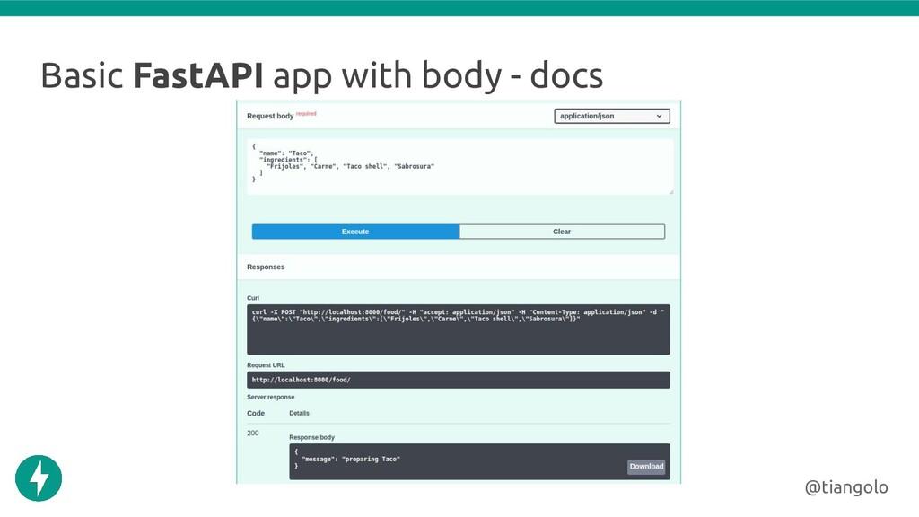 Basic FastAPI app with body - docs @tiangolo