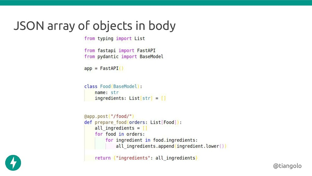 JSON array of objects in body @tiangolo