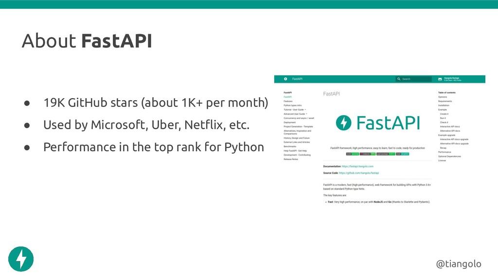 About FastAPI ● 19K GitHub stars (about 1K+ per...