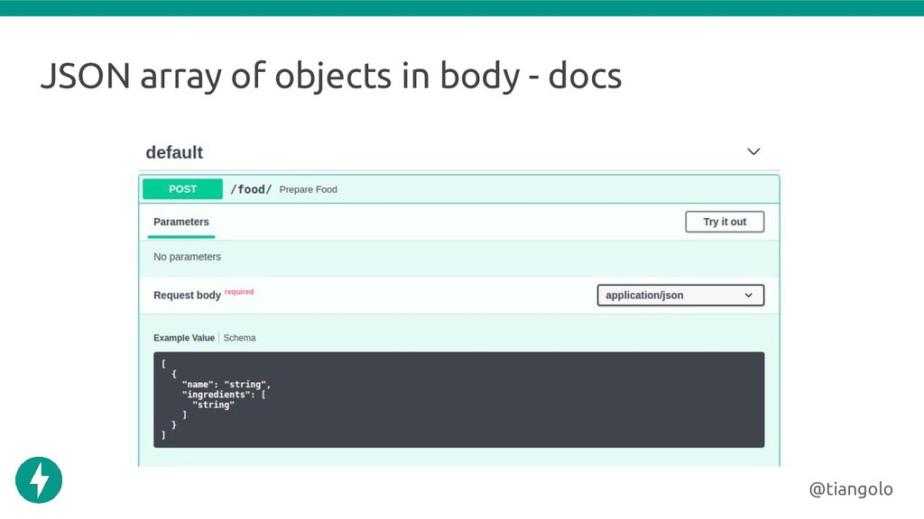 JSON array of objects in body - docs @tiangolo