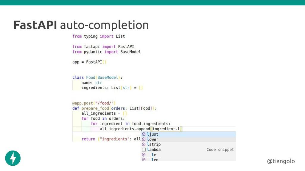 FastAPI auto-completion @tiangolo