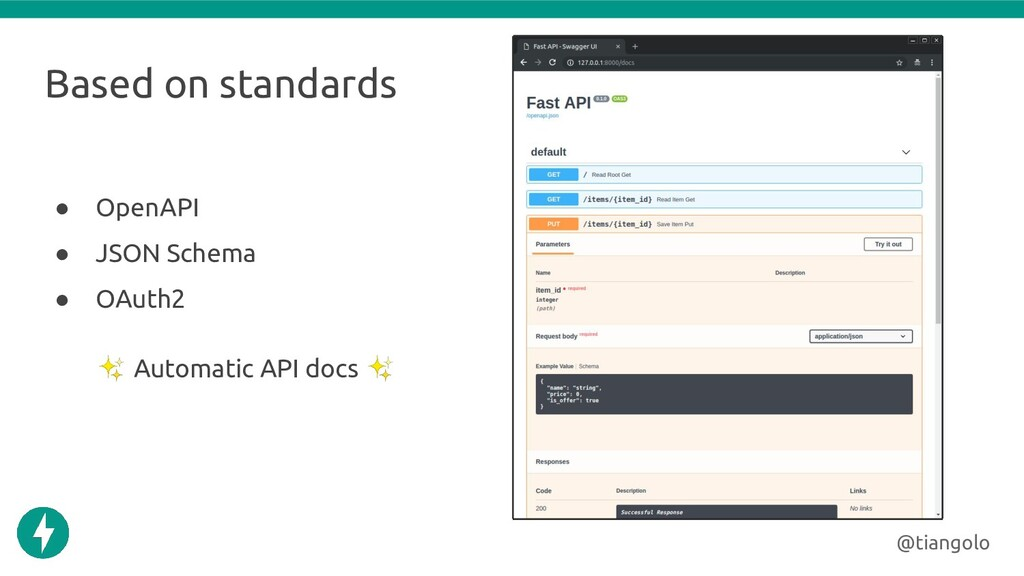 Based on standards ● OpenAPI ● JSON Schema ● OA...