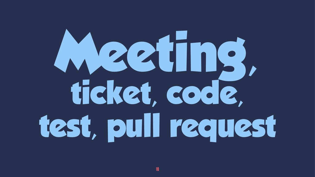 Meeting, ticket, code, test, pull request 10
