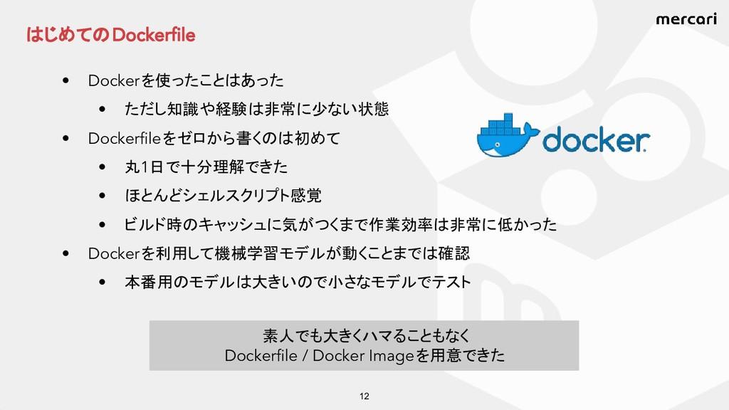 はじめての Dockerfile • Docker を使ったことはあった • ただし知識や経験...