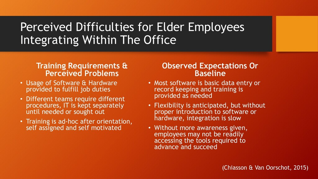 Perceived Difficulties for Elder Employees Inte...