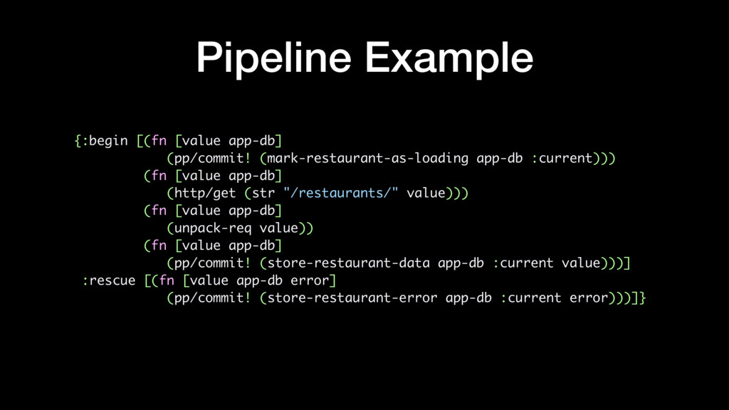 Pipeline Example {:begin [(fn [value app-db] (p...