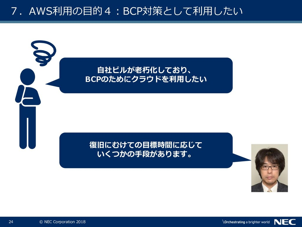 24 © NEC Corporation 2018 7.AWS利用の目的4:BCP対策として利...