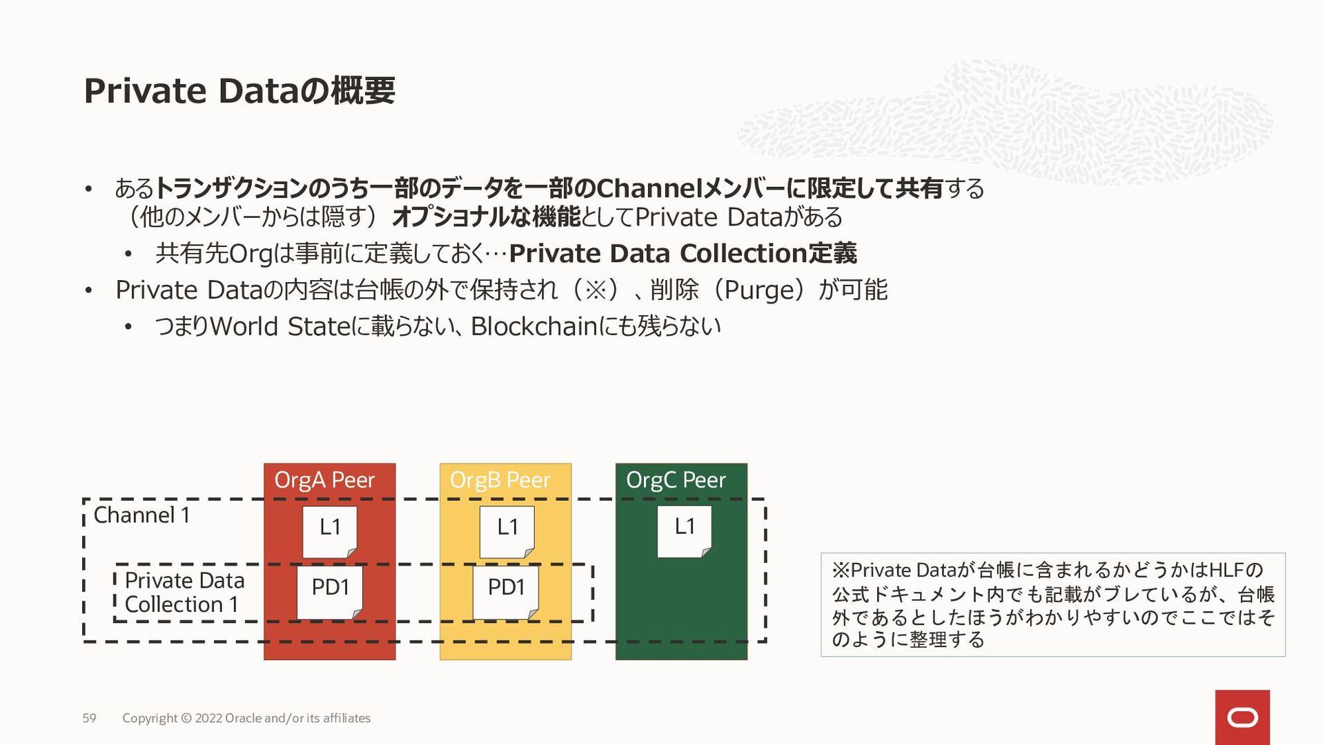 • PDの内容はトランザクションに載らずPDC保持メンバーのPeerのみに共有 • PD内容は...