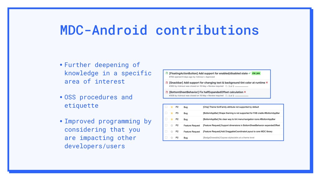 MDC-Android contributions •Further deepening of...