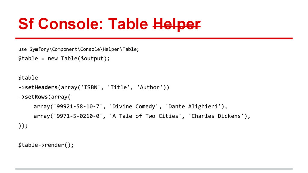Sf Console: Table Helper use Symfony\Component\...
