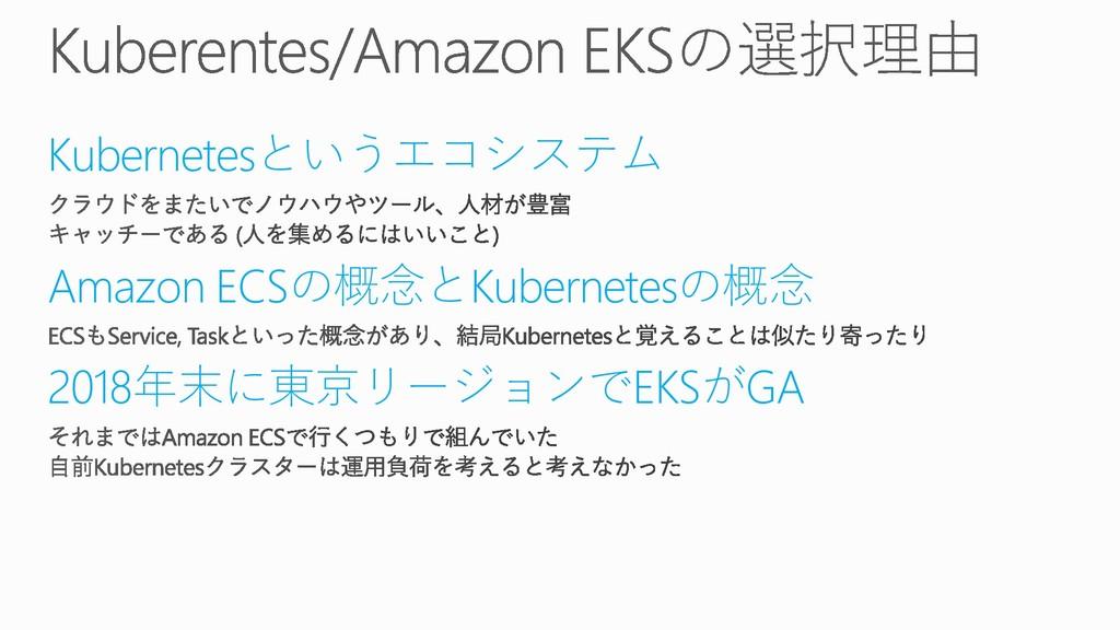 Kubernetesというエコシステム Amazon ECSの概念とKubernetesの概念...