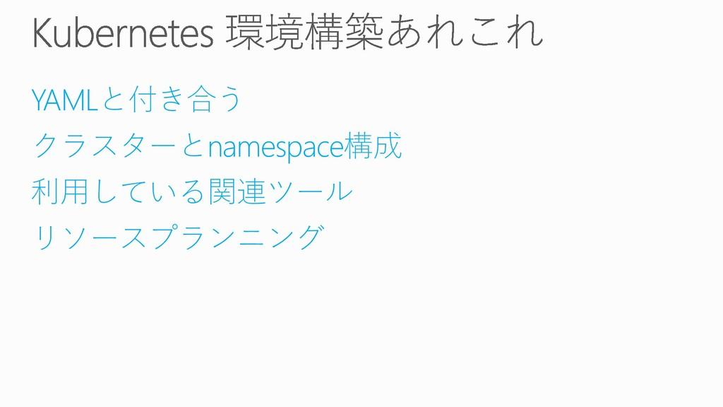 YAMLと付き合う クラスターとnamespace構成 利用している関連ツール リソースプラン...