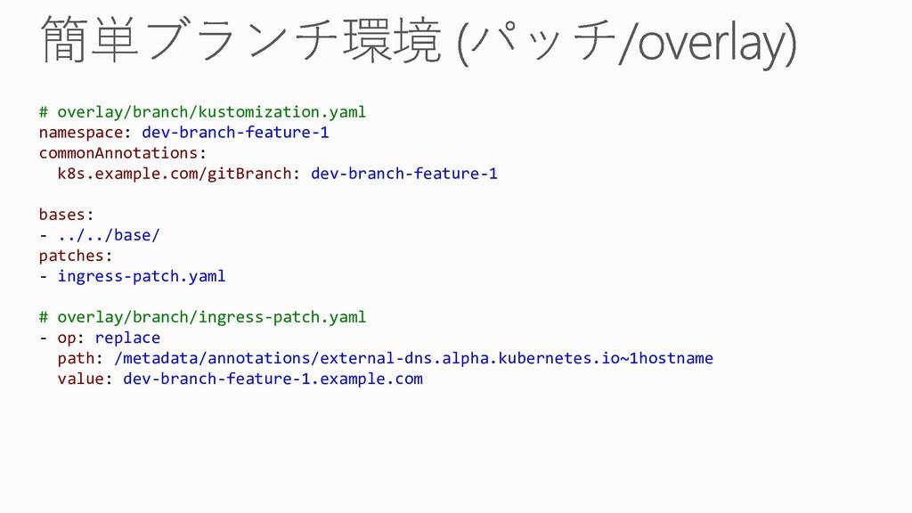 # overlay/branch/kustomization.yaml namespace: ...