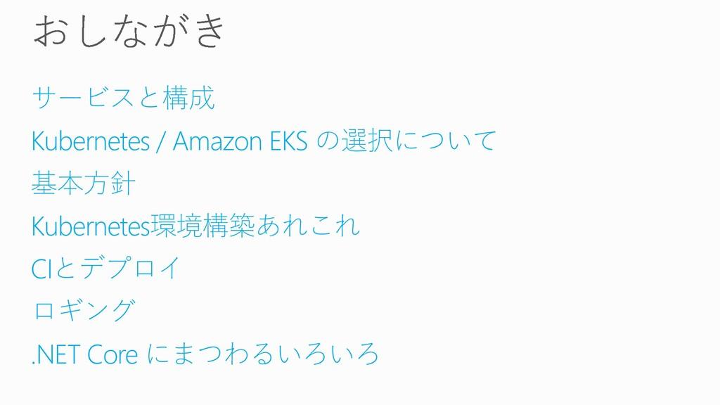 サービスと構成 Kubernetes / Amazon EKS の選択について 基本方針 Ku...