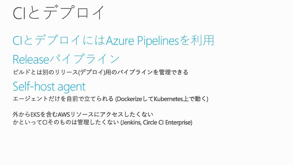 CIとデプロイにはAzure Pipelinesを利用 Releaseパイプライン Self-...