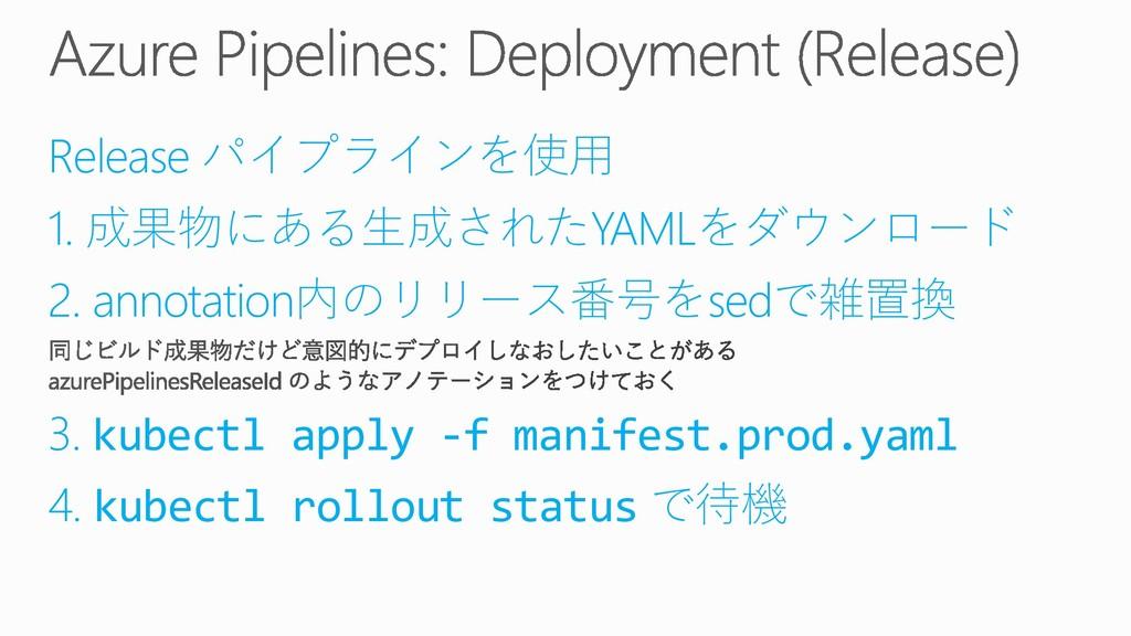 Release パイプラインを使用 1. 成果物にある生成されたYAMLをダウンロード 2. ...