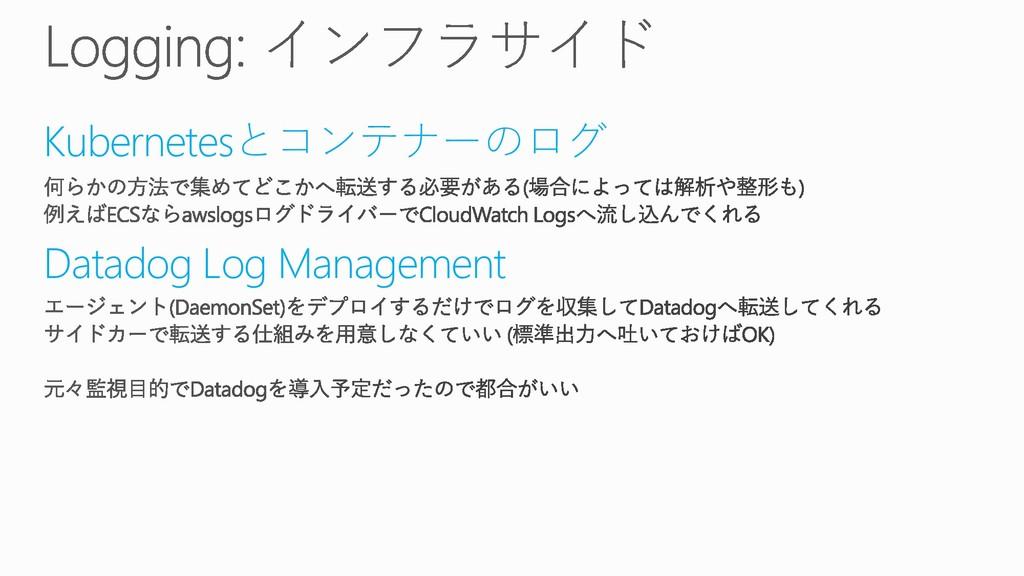 Kubernetesとコンテナーのログ Datadog Log Management