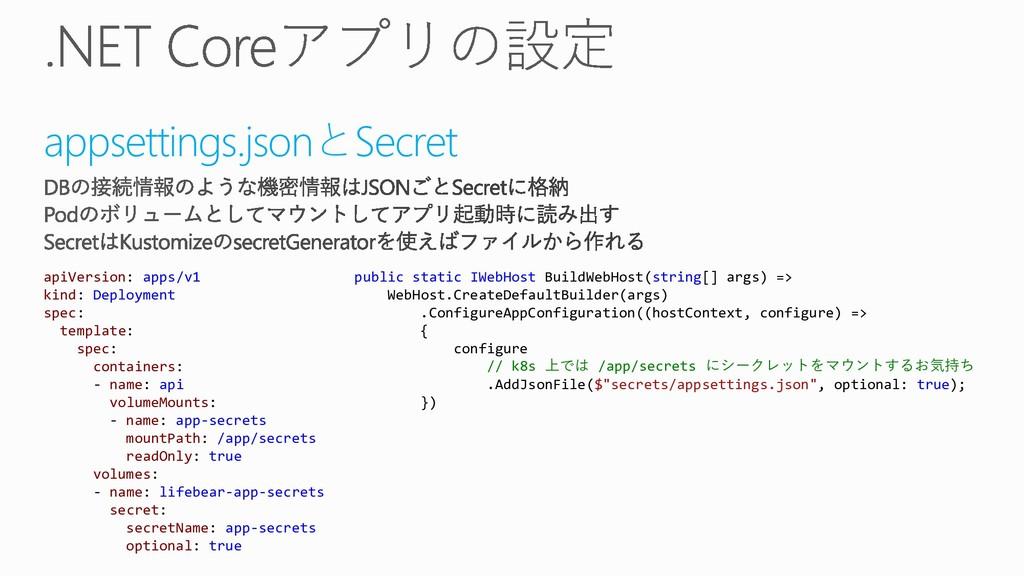 appsettings.jsonとSecret public static IWebHost ...