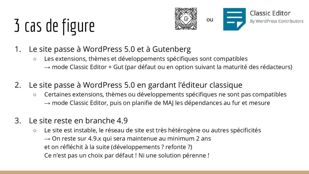 3 cas de figure 1. Le site passe à WordPress 5....