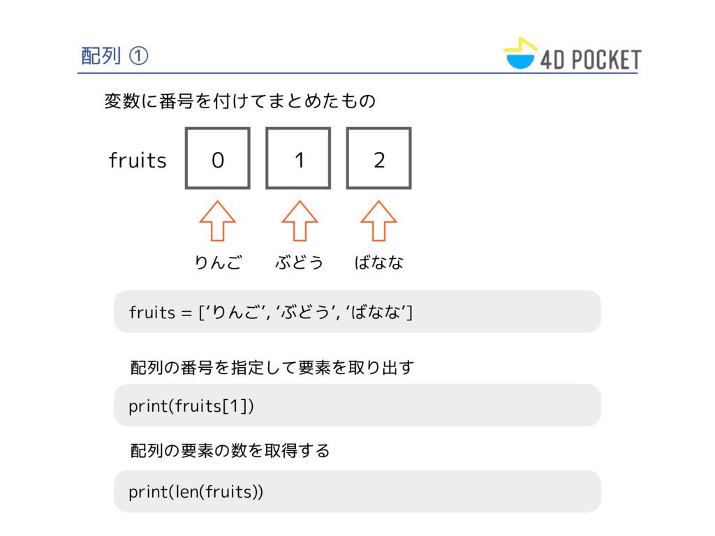 配列 ① fruits = ['りんご', 'ぶどう', 'ばなな'] 変数に番号を付けてまと...