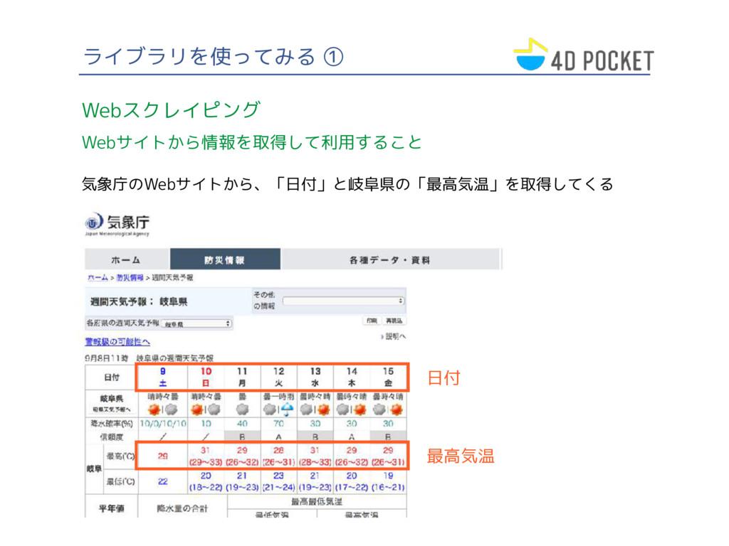 ライブラリを使ってみる ① Webスクレイピング Webサイトから情報を取得して利用すること ...