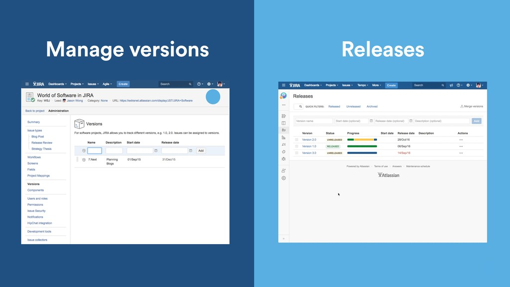 Manage versions Releases