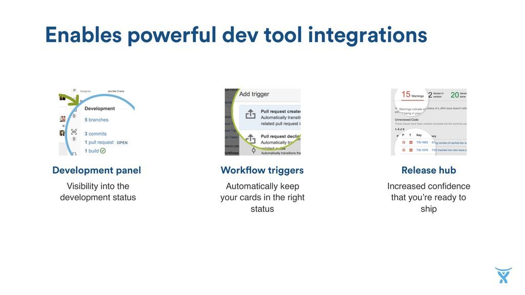 Release hub Workflow triggers Development panel...