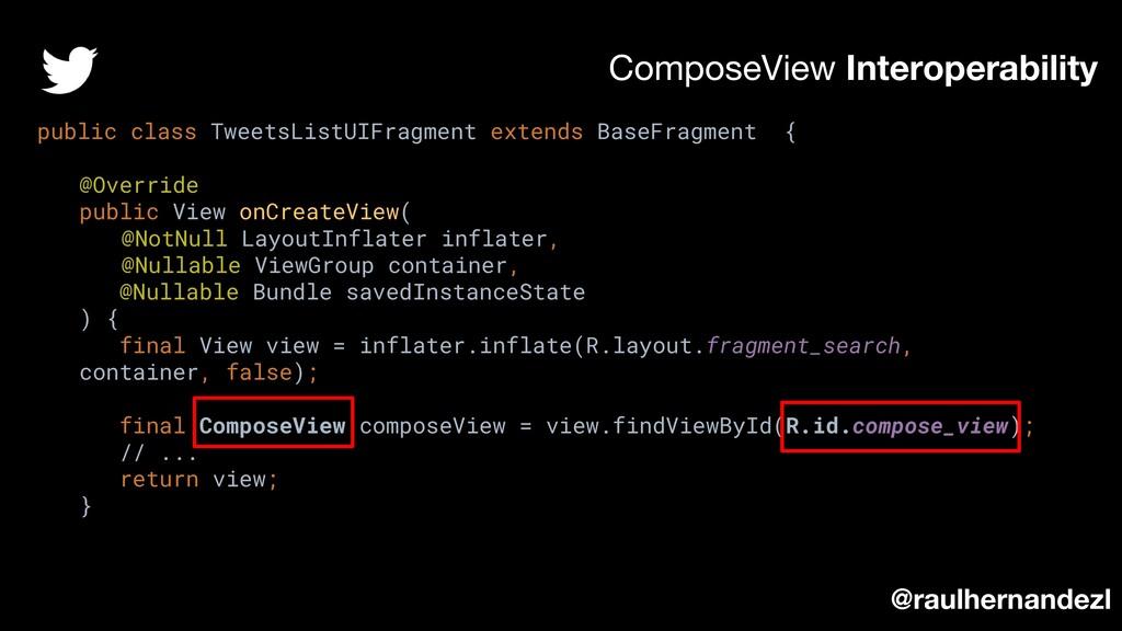 ComposeView Interoperability public class Tweet...