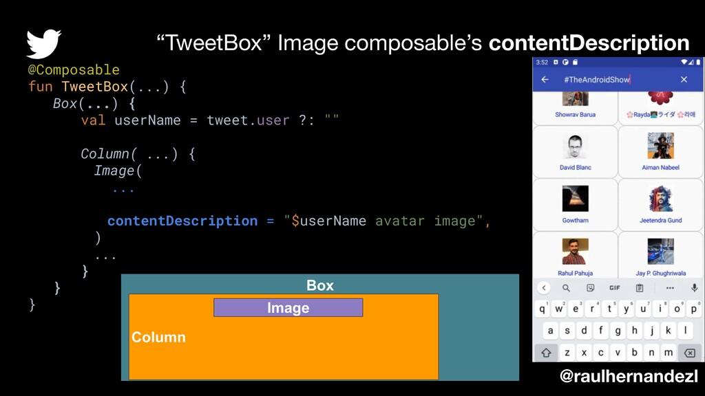 """TweetBox"" Image composable's contentDescriptio..."