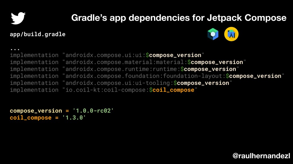 Gradle's app dependencies for Jetpack Compose @...