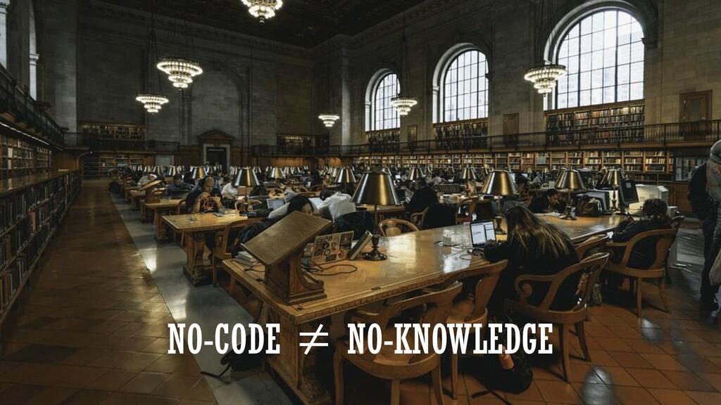NO-CODE ≠ NO-KNOWLEDGE